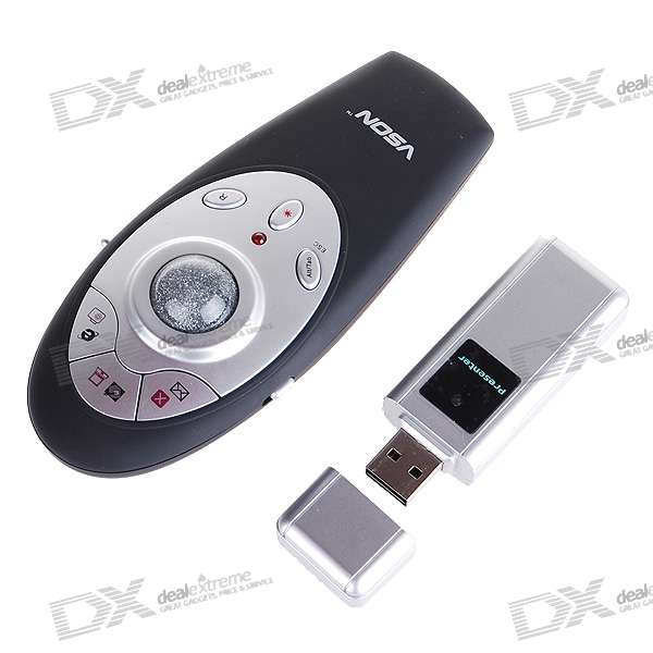VSON V-820 2.4GHz RF Wireless Presenter with Laser Pointer and Remote Mouse (2*AAA)