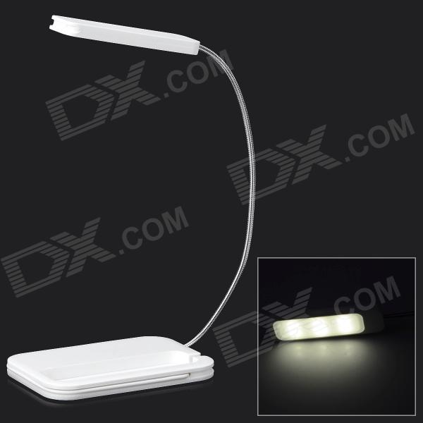 Card Style Rechargeable 0.5W 6-LED 3-Mode Light Yellow USB Desk Lamp - White
