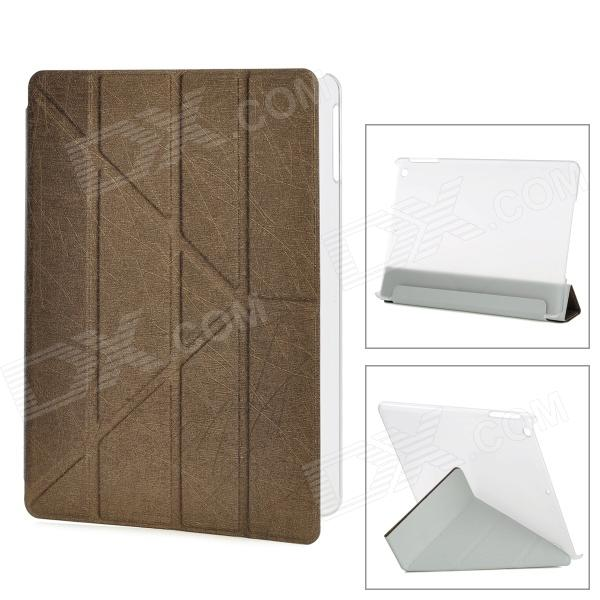 YSY Transformable Protective PU Leather + Plastic Case for IPAD AIR - Coffee