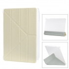 Transformable Protective PU Leather + Plastic Case for IPAD AIR - Beige