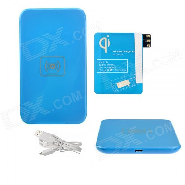 X5 Qi Mobile Wireless Power Charger + Wireless Charger Receiver for Samsung Galaxy Note 3 - Blue
