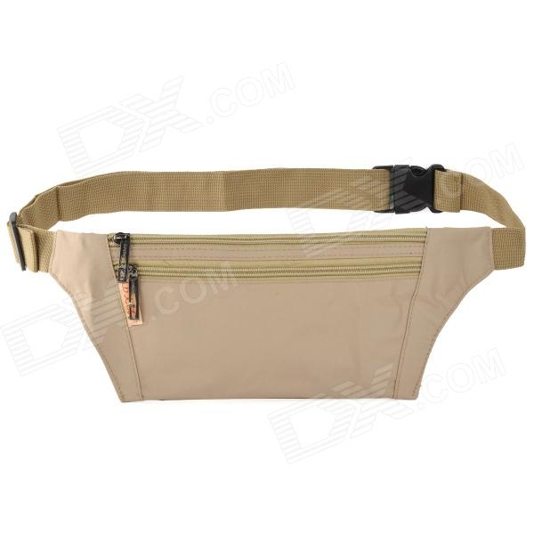 JBYD JA1002 Outdoor Sports Anti-theft Polyester Zipper Waist Bag - Khaki цена и фото