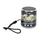 C-39 Skull Head and Wings Pattern Portable Media Player Speaker w/ TF / FM - Black + Silver White