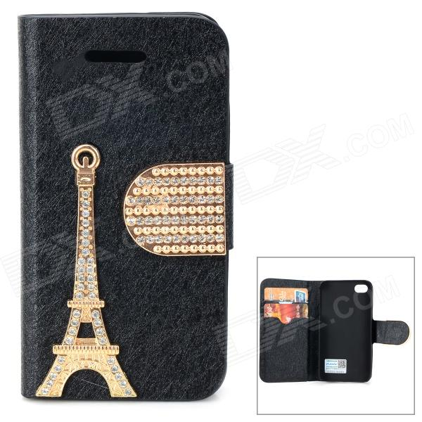 PUDINI WB-U4S Rhinestone Eiffel Tower Style PU Leather Case for IPHONE 4 / 4S - Black + Golden wb 1215 casual style magic pu dollar wallet black green