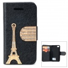 PUDINI WB-U4S Rhinestone Eiffel Tower Style PU Leather Case for IPHONE 4 / 4S - Black + Golden