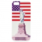Relief Statue of Liberty Pattern Protective PC Back Case for IPHONE 5 / 5S - White + Red + Blue