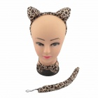 Sexy Leopard Pattern Costume Headband Ears Bow Tie Tail Set - Yellow + Leopard