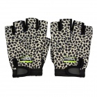 DAVS ST-615 Neoprene Outdoor Sports Bicycle Anti-Slip Breathable Half Finger Gloves - Black Leopard