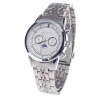 BADACE Men's Stainless Steel Band Quartz Wrist Watch w / 3 Decorative Sub-dials - Silver + White