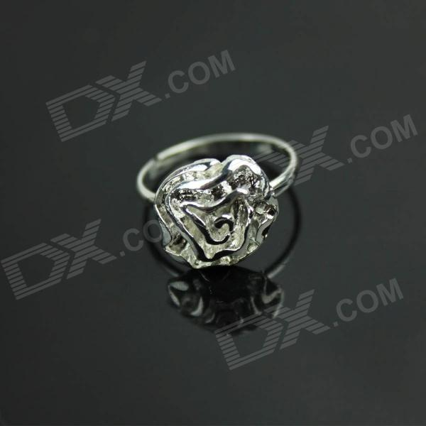 Graceful Rose Style Copper Finger Ring - Silver