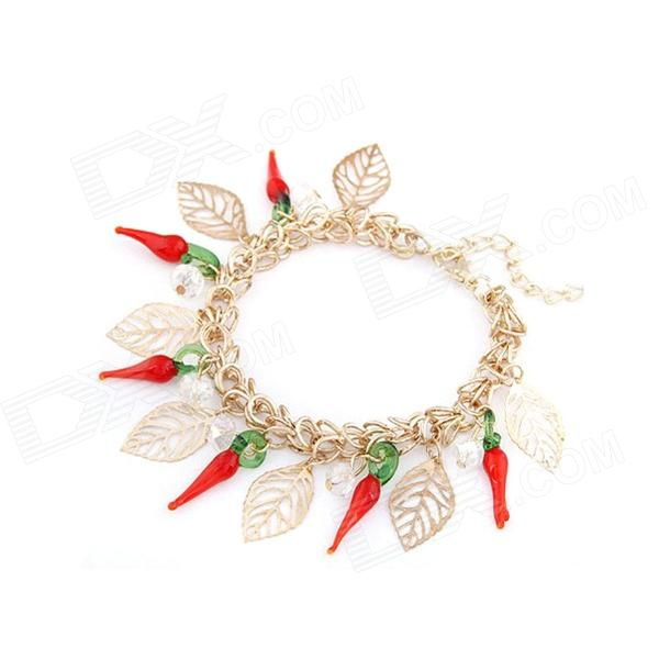 Little Peppers Temperamental Chain Bracelet - Golden + Red + Multi-Colored