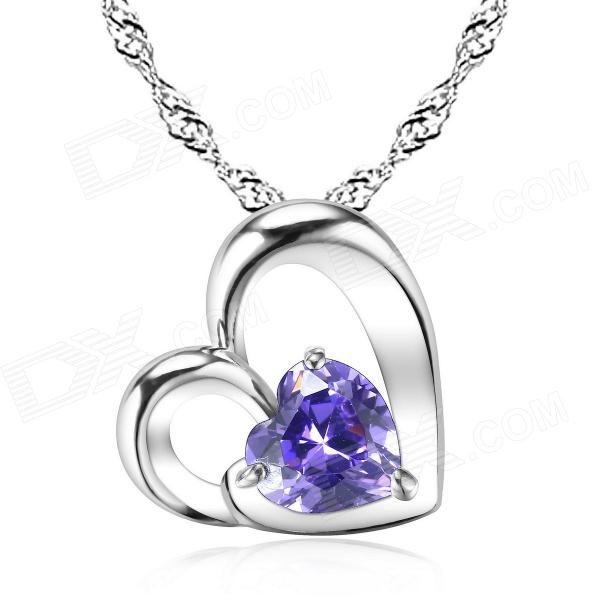 eQute PSIW39C6 Heart Shape S925 Pure Silver Pendant Necklace - Silver + Purple equte s925 sterling silver long six sides cylindrical chain necklace silver 16