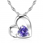 eQute PSIW39C6 Heart Shape S925 Pure Silver Pendant Necklace - Silver + Purple