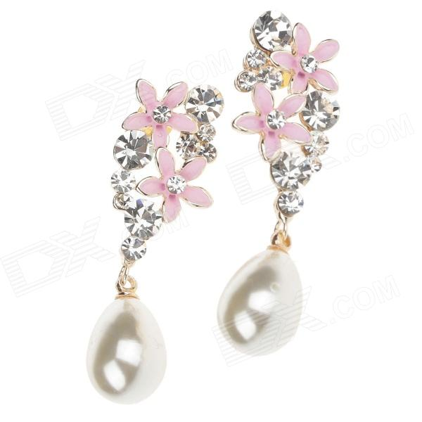 Flower Shape Shining Crystal Pearl Ear Stud - Silver + Pink