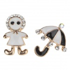 Girl + Umbrella Style Shining Crystal Ear Stud - Black + White + Multi-Colored