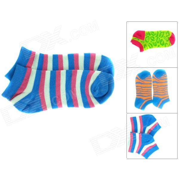 Stripe Pattern Combed Cotton Socks - Blue + Red + Multi-Colored (3 Pair)