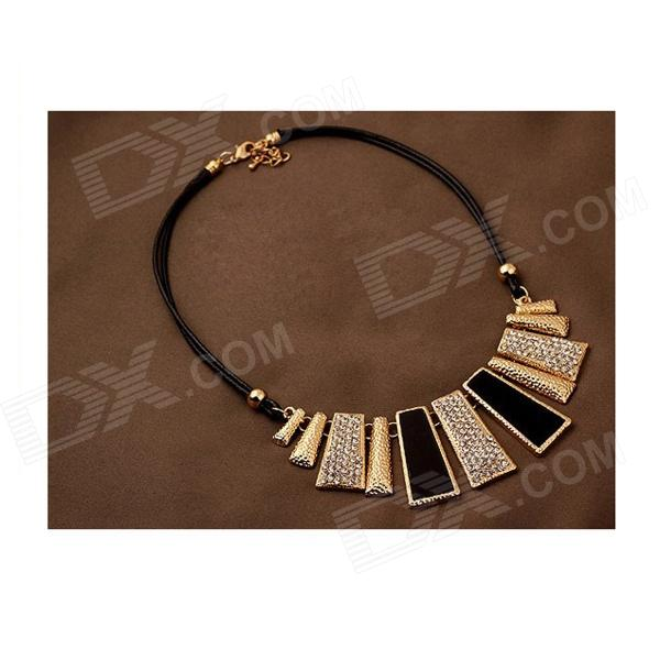 Retro Style Vertical Bar Shape Crystal Leather Strape Necklace - Black + Golden + Multi-Colored gorgeous 60cm length golden thick braided wheat chain necklace for men