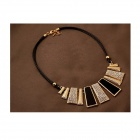 Retro Style Vertical Bar Shape Crystal Leather Strape Necklace - Black + Golden + Multi-Colored