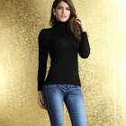 27515-2 Women'S High Collar Long Sleeve Sweater Subcoating - Black (Size L)
