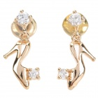 ZEA2-13-1EH Stylish Shiny Crystal Inlaid High Heel Style Pendant Earring - Champagne Gold (2 PCS)
