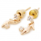 Stylish Shiny Crystal Inlaid High Heel Style Pendant Earring - Champagne Gold (2 PCS)