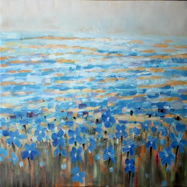 Larts DX2014-0202 Decorative Canvas Hand-Painted Oil Painting - Blue