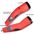 MONTON Cool Sun-Resistant Arm Sleeves for Cycling - Red + Black (Size M)