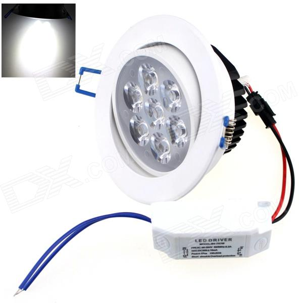 ZHISHUNJIA 7W 560lm 6000K 7 x SMD 6063 LED White Light Ceiling Lamp w/ Driver -White (AC 85~265V)