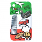 Graffiti Style Pisa Tower Pattern Back Case for IPHONE 3G / 3GS - White + Green + Multi-Colored