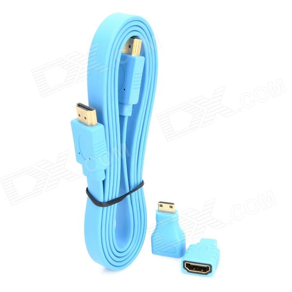 Combo HDMI Male to Male Video Audio Connection Cable w/ Mini HDMI / Micro HDMI Adapters - Blue