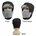 QF B12075 Warm Polyester + Cashmere Hat w/ Removable Face Mask for Men - Black + Grey