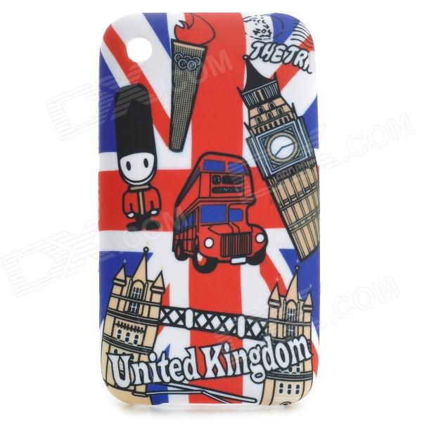 Cute Cartoon British Scenic Spot Pattern Protective PVC Back Case for IPHONE 3G / 3GS - White + Red