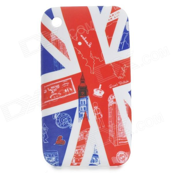 Cute Cartoon British Pattern Protective PVC Back Case for IPHONE 3G / 3GS - White + Blue