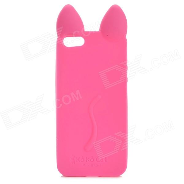 KOKO Stylish Cute Cat Ear Style Protective Silicone Back Case for IPHONE 5 / 5S - Deep Pink luck case 04 stylish protective silicone back case for iphone 5c deep pink