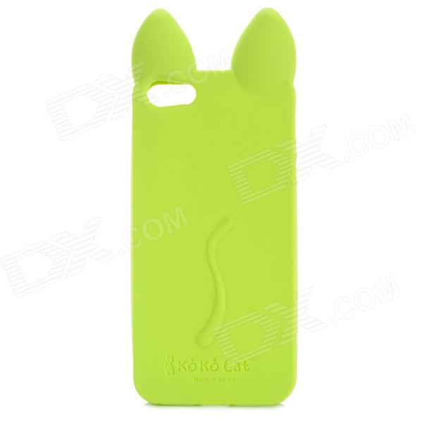 KOKO Stylish Cute Cat Ear Style Protective Silicone Back Case for IPHONE 5 / 5S - Fluorescent Green