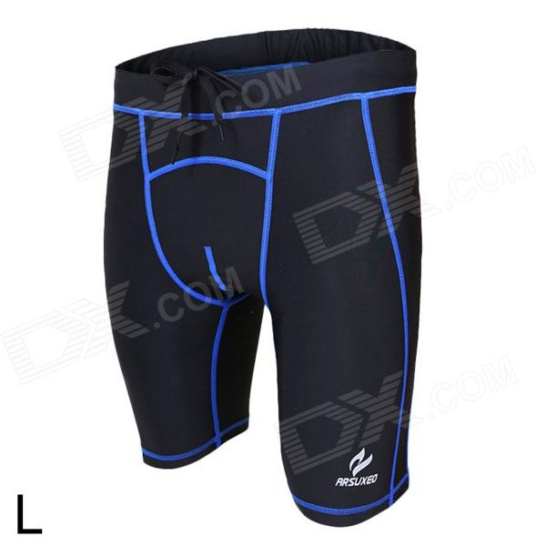 ARSUXEO AR5503 Sports Running Spandex + Nylon Tight Shorts for Men - Black + Blue (L) universal nylon cell phone holster blue black size l