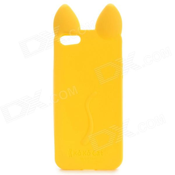 KOKO Stylish Cute Cat Ear Style Protective Silicone Back Case for IPHONE 5 / 5S - Saffron cute marshmallow style silicone back case for iphone 5 5s green yellow