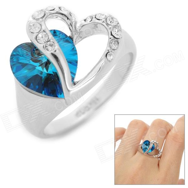 Rigant Heart-Shaped Crystal Womens Ring - Sapphire Blue + Silver - DXRings<br>Color Sapphire Blue + Silver Brand Rigant Quantity 1 Set Shade Of Color Silver Material Zinc alloy + silver plated + crystal Gender Women Suitable for Adults U.S Size 8 Ring Diameter 1.8 cm Ring Circumference 2.8 cm Packing List 1 x Ring<br>