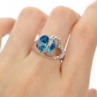 Rigant Heart-Shaped Crystal Women's Ring - Sapphire Blue + Silver