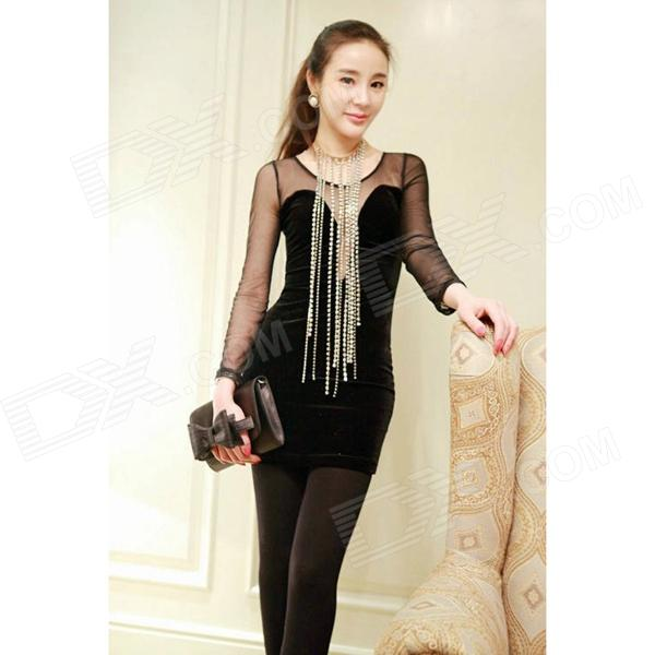 Woman's Sexy Plunging Neckline See-through Mesh + Pleuche Skinny Dress - Black (L)