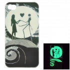KWEN KWEN-q4 Stylish Glow-in-the-dark Patterned PC Back Case for IPHONE 4 / 4S - Black + White