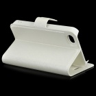 Flower Show Protective PU + PC Case w/ Holder / Card Slot for IPHONE 4 / 4S - White