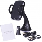 Universal QI Standard Car Cigarette Powered Wireless Charger w/ Car Mount Bracket - Black