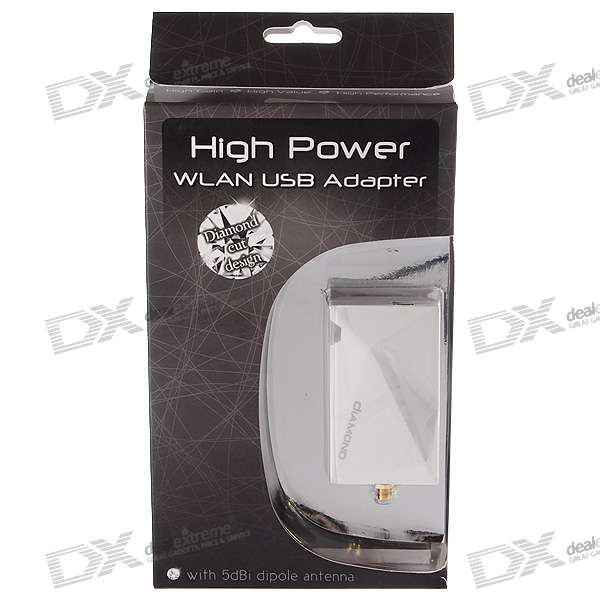High Power 500mW 802.11b/g 54Mbps USB 2.0 WiFi Wireless Network Dongle (White)
