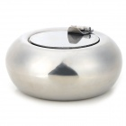 Drum Shaped Stainless Steel Ashtray w/ Cover - Silver