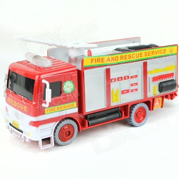 Electric Fire Engine Firefighter Bubble Car Toy - White + Red (3 x AA) water walk ball inflatable aqua bubbles water bubble balloons