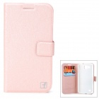 FlowerShow Protective PU Leather Case w/ Card Slots /  Stand for Samsung i9260 - Pink