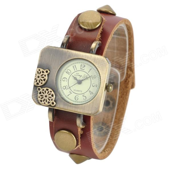 Woman's Stylish Analog Quartz Wrist Watch w/ Split Leather Band - Brown + Golden (1 x SR626SW) stylish bracelet band quartz wrist watch golden silver 1 x 377