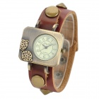 Woman's Stylish Analog Quartz Wrist Watch w/ Split Leather Band - Brown + Golden (1 x SR626SW)