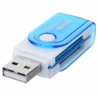 4-in-1 USB 2.0 TF / MS / M2 / SD Card Reader - White + Blue (32GB)